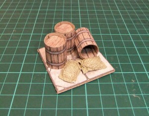 Sacks And Barrels On A 2.5D Printable Dungeon Floor